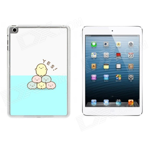 Chicks Pattern Ultra Thin Protective Plastic Back Case Cover for IPAD MINI 1 / 2 / 3 - White + Blue g case slim premium чехол для apple ipad mini 4 white