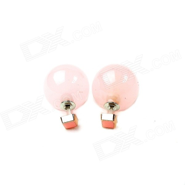 E021 Women's Fashionable Two-way Wearing Acrylic Ear Studs Earrings - Pink (Pair)