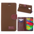 Protective PU Leather Case w/ Card Slot + Stand for Samsung Galaxy Note 4 - Khaki