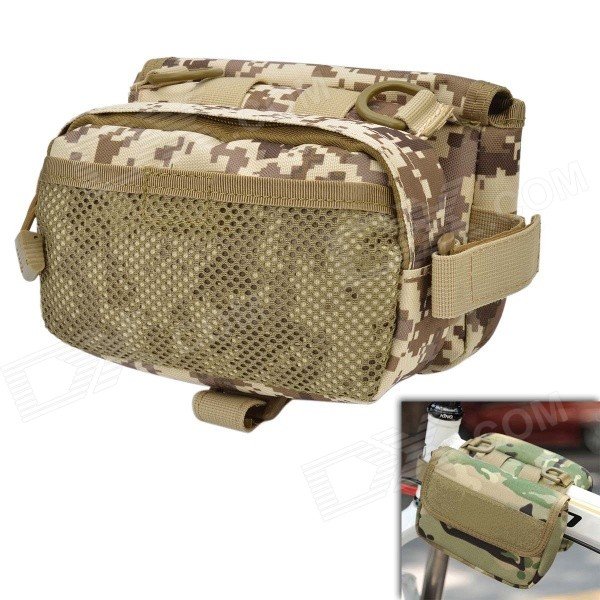 Фото D28 600D Nylon Water-resistant Bike Bicycle Saddle Bag - Camouflage mymei outdoor 90db ring alarm loud horn aluminum bicycle bike safety handlebar bell