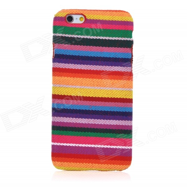Colorful Stripes Style Protective Plastic Back Case Cover for IPHONE 6 - Multicolored fashionable colorful strip patterned protective plastic back case for iphone 5 multicolored