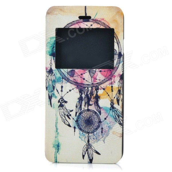 Dreamcatcher Pattern Ultra-Thin Flip-Open PU + ABS Case w/ View Window / Stand for IPHONE 6