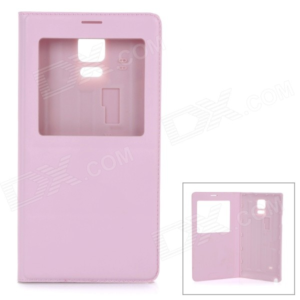 Protective Flip-Open PU Case Cover w/ View Window for Samsung Galaxy Note 4 5.7 - Pink metal ring holder combo phone bag luxury shockproof case for samsung galaxy note 8