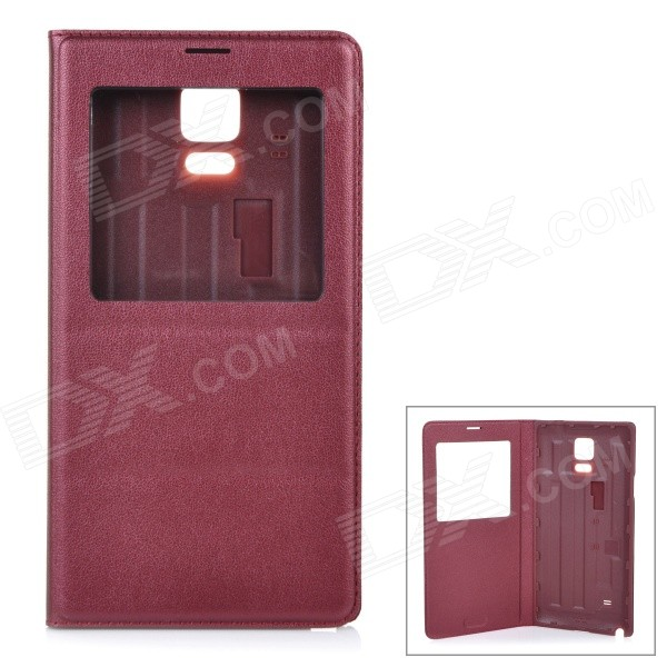 купить Protective Flip-Open PU Case Cover w/ View Window for Samsung Galaxy Note 4 5.7