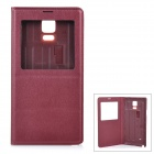 "Protective Flip-Open PU Case Cover w/ View Window for Samsung Galaxy Note 4 5.7"" - Wine Red"