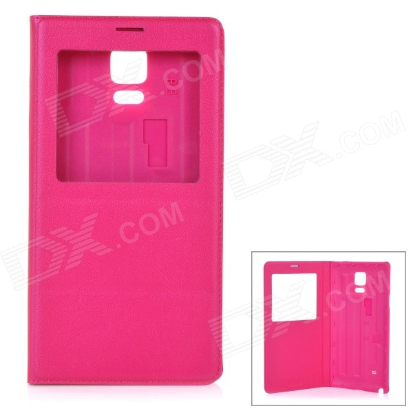 Protective Flip-Open PU Case Cover w/ View Window for Samsung Galaxy Note 4 5.7 - Deep Pink protective pu leather flip open case w stand for samsung note 3 n9000 deep pink light green