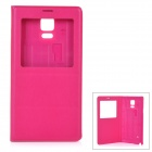 "Protective Flip-Open PU Case Cover w/ View Window for Samsung Galaxy Note 4 5.7"" - Deep Pink"