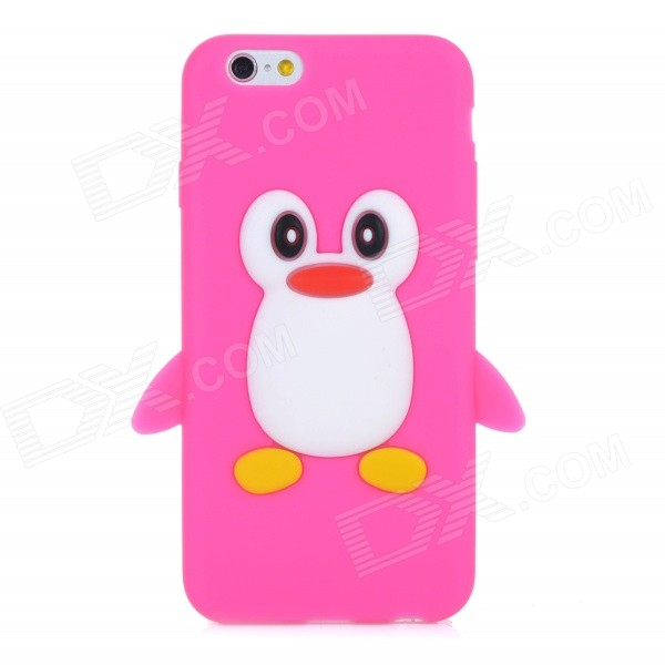 CYF-7001 Cute Penguin Style Protective Silicone Back Case for IPHONE 6 - Deep Pink cute marshmallow style silicone back case for iphone 5 5s yellow white