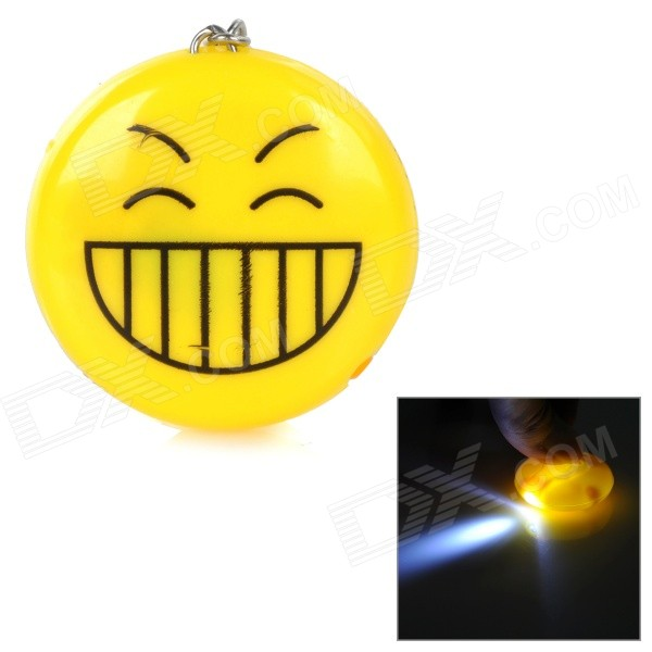Big Smiley Style LED White Light Keychain - Yellow + Black (3 x LR41)