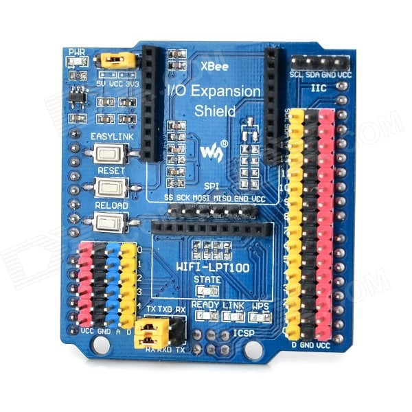 DIY IO Expansion Shield for Arduino - Blue (Works with Official Arduino Boards)