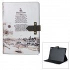 Retro Village over River Pattern Protective PU + PC Case w/ Stand for IPAD AIR 2 - White + Black