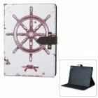 Retro Ship Steering Wheel Pattern PU + PC Case w/ Stand for IPAD AIR 2 - White + Coffee