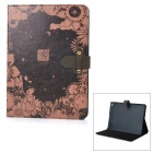 Retro Flower & Moon Night Pattern PU + PC Case w/ Stand for IPAD AIR 2 - Black + Bronze