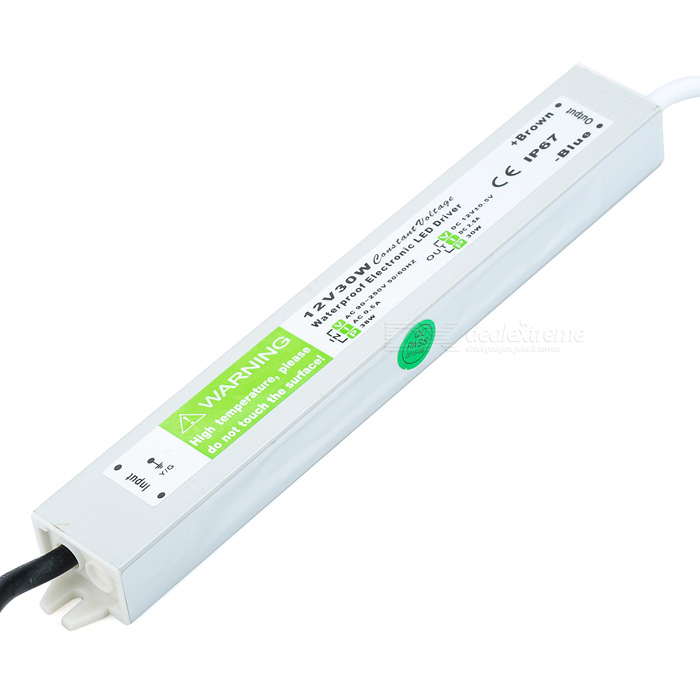 FS-30-12C Waterproof 30W 12V Constant Voltage LED Driver for Lamp Light Strip - Silver + Green