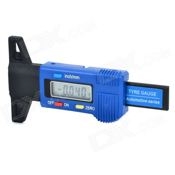 1.2 LCD Digital Car Tire Tread Depth Gauge - Black + Blue (1 x LR44) tourmax 1 1 car tire gauge w sos function 2 x aaa