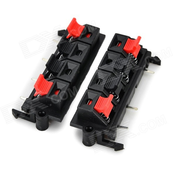 Plastic Speaker Wiring Terminal 4-Clamps / Clips - Black + Red (2 PCS) jiahui plastic copper power test alligator clips clamps red silver 50 pcs m