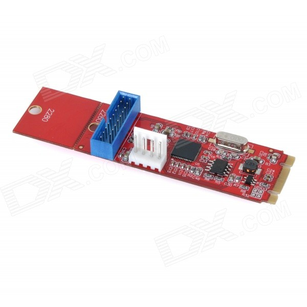M.2 NGFF to 19-Pin Adapter Card w/ Connection Cable - Red + Blue ssd add on cards 2 5 enclosure adapter u 2 sff 8639 to m 2 pci e i f with cable ngff convert card