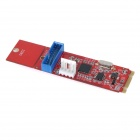 M.2 NGFF to 19-Pin Adapter Card w/ Connection Cable - Red + Blue