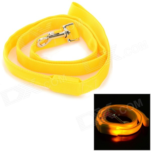 GD321 3-Mode Yellow Light LED Flashing Nylon Leash for Pet Cat / Dog - Yellow (2 x CR2016)