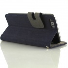 Wallet Design Protective PU + PC Flip Open Case w/ Stand / Card Slots for IPHONE 6 - Dark Blue