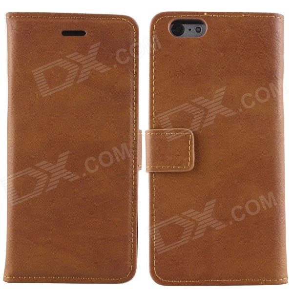 Protective PU Leather + PC Flip Open Case w/ Card Slots / Stand for IPHONE 6 - Dark Brown high quality business flip open pu pc case w card slots for 5 5 iphone 6 plus brown