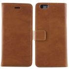 Protective PU Leather + PC Flip Open Case w/ Card Slots / Stand for IPHONE 6 - Dark Brown