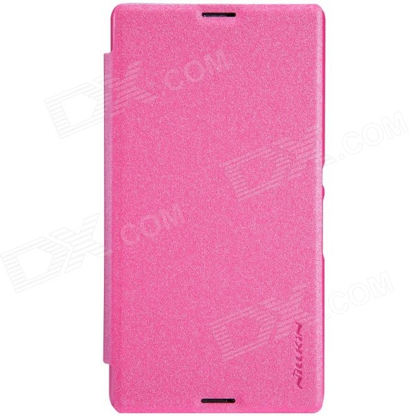 NILLKIN Protective PU Leather + PC Case Cover for Sony Xperia E3 - Pink