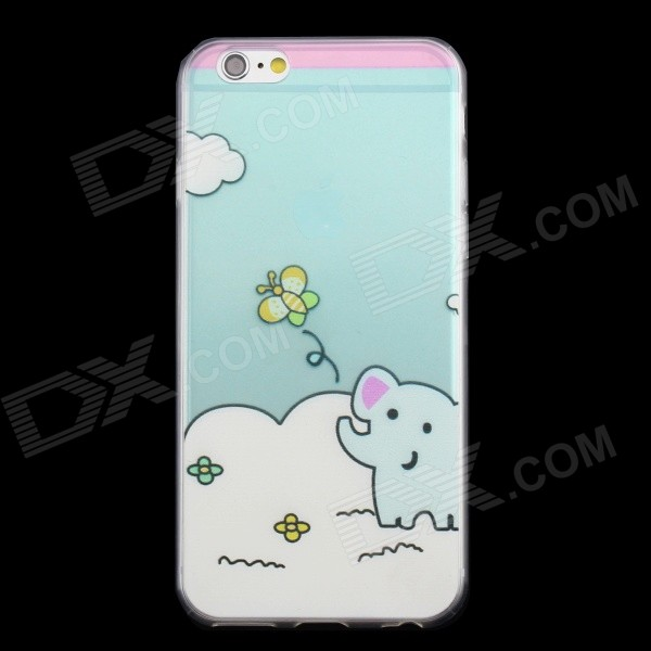 "0.3mm Slim Ultra Thin Cartoon Elephant Pattern Case for IPHONE 6 4.7"" - Transparent Blue"