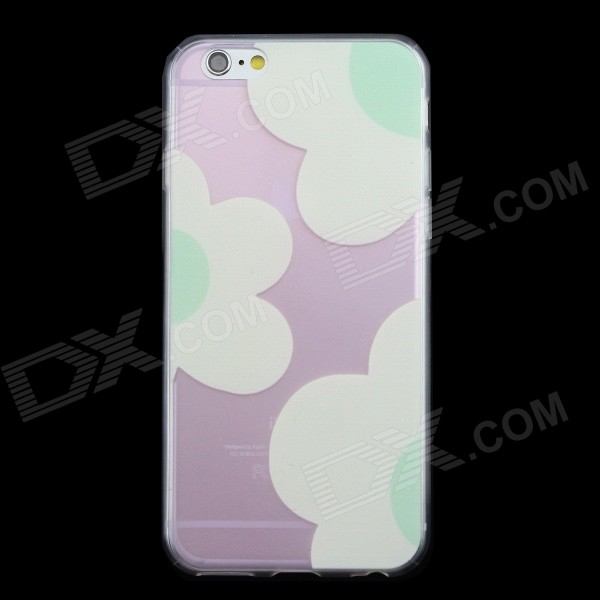 0.3mm Slim Ultra Thin Flower Pattern Case for IPHONE 6 4.7 - Transparent Pink + White ultra thin embossed flower pattern protective tpu back case for iphone 5 5s white light pink