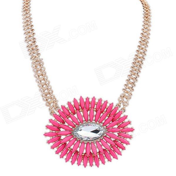 Fashionable Elliptical Diamonte Pendant Necklace - Deep Pink