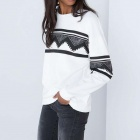 Geometric Print Casual Long-Sleeved Fleeces Topcoat - White (M)