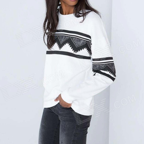 Geometric Print Casual Long-Sleeved Fleeces Topcoat - White (L)
