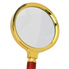 Handheld 5X 67mm Optical Lens Wood Handle Reading Magnifier - Golden