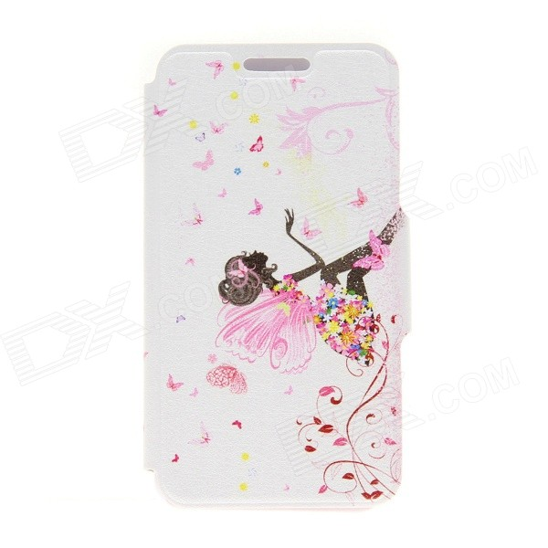 Kinston Butterfly Girl Pattern PU Leather Full Body Case with Stand for IPHONE 6 Plus - Pink + Black pocket monster embossing hybrid acrylic tpu shell for iphone 6s 6 pikachu