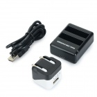 Dual-USB Battery Charger w/ Charging Cable / EU Plug Charger for GoPro Hero 4 - Black