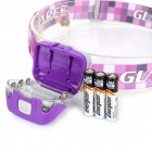 GLAREE L50PRO 5-LED 4-Mode White Light Outdoor Headlamp - Purple + White (3 x AAA)