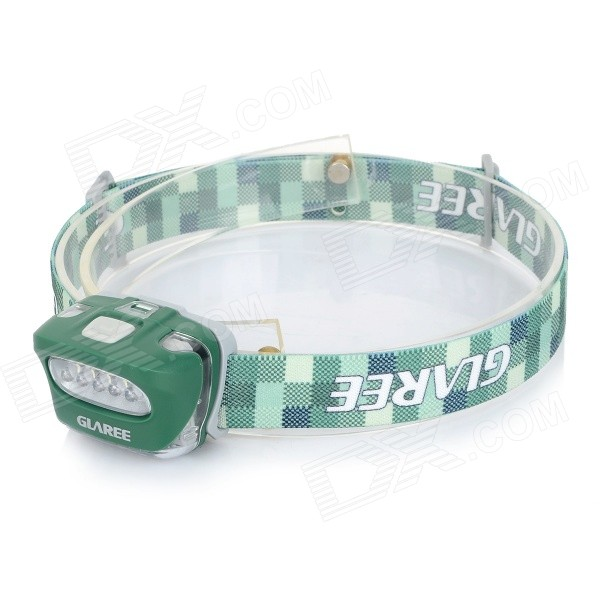 GLAREE L50PRO 5-LED 4-Mode White Light Outdoor Headlamp - Green + White (3 x AAA)