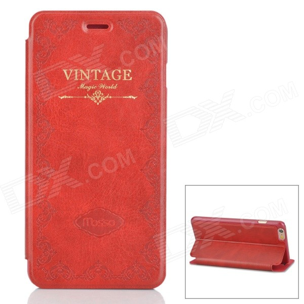 Retro Style Protective PU Leather Case w/ Stand for IPHONE 6 PLUS - Dark Red stand leather case for iphone 6 plus 6s plus 5 5 inch with card slot dark blue