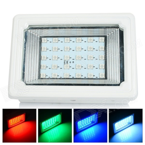 Solar Powered 5W RGB 30-SMD 5050 LED Garden / Landscape Decoration Flood Light Lamp - White + Black