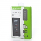 Vina 006 Safety Smart IC 3A High Speed 3-Port USB Fast Power Phone/Tablet Charger - Black (US Plugs)