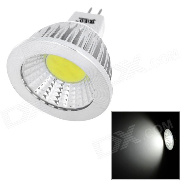 JRLED MR16 4W 300lm 6000K COB White Light Spotlight - White + Silver (DC 12V)