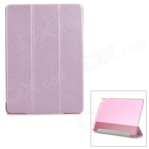 Protective Sparkling Silk Grain PU Leather Smart Case w/ PC Back, Stand for IPAD AIR 2 - Pink