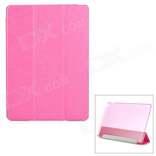 Protective Sparkling Silk Grain PU Leather Smart Case w/ PC Back, Stand for IPAD AIR 2 - Deep Pink silk style protective pu leather plastic case for ipad air pink