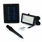 Solar Powered 3W 350LM 6000K White Light 60-LED Garden / Lawn Flood Lamp - Black