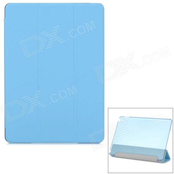 Protective Ultra-Slim Smooth Smart PU Case w/ PC Back, Stand for IPAD AIR 2 - Light Blue