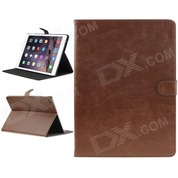 ENKAY High Quality Protective PU Leather Smart Case w/ Stand and Card Slots for IPAD AIR 2 - Brown