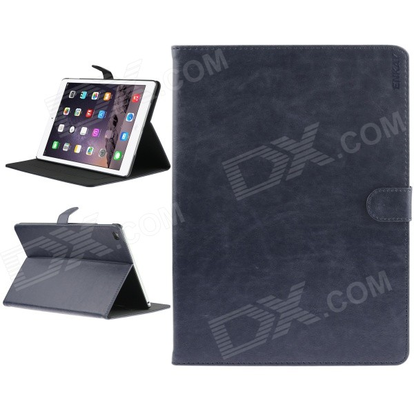 ENKAY High Quality Protective Leather Smart Case w/ Stand and Card Slots for IPAD AIR 2 - Deep Blue enkay protective pu leather case w auto sleep stand card slots for ipad air 2 deep gray
