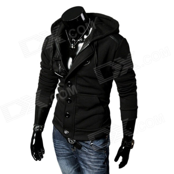 Stylish Horn Toggle Buttons Brushed Fabric Hooded Fleece Coat - Black (XL)