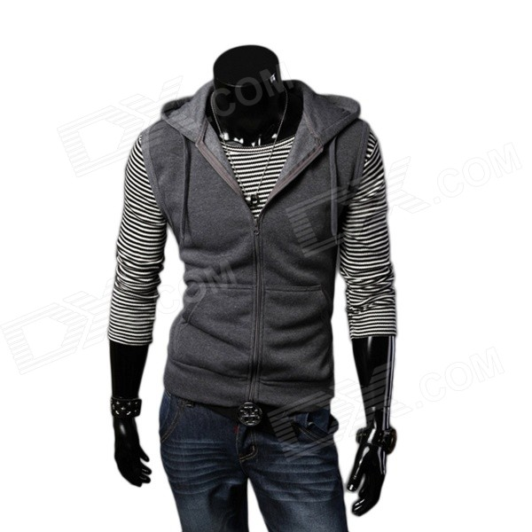 A35 Autumn / Winter Men's Cotton Blend Hoodie Vest - Dark Gray (XXL)
