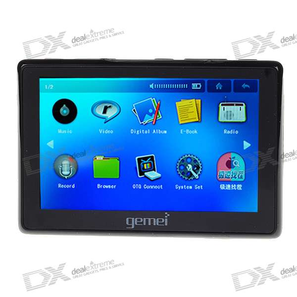 "Gemei HD693T 4.3"" Touch Screen HD 720P RMVB/MP4 Media Player with TF Slot/AV-Out (800*480/8GB/OTG)"